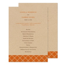 Orange Squares Wedding Program