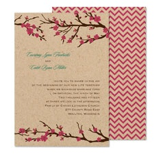 Cherry Blossoms Wedding Invitation - Kraft Paper