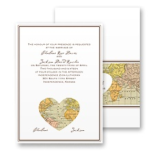Heart Map Wedding Invitation