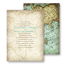 Vintage Map Wedding Invitation