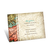 Vintage Map Reception Card