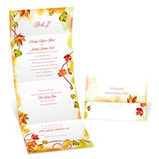 Colorful Leaves Seal and Send Wedding Invitation