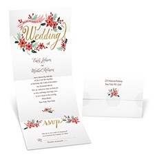 Pretty Poinsettias Seal and Send Wedding Invitation