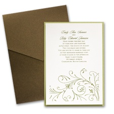 Ecru Layered Wedding Invitation with Pocket