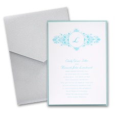 White Layered Wedding Invitation with Pocket