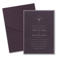 Eggplant Layered Wedding Invitation with Pocket