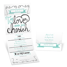 Love and Cherish Seal and Send Wedding Invitation