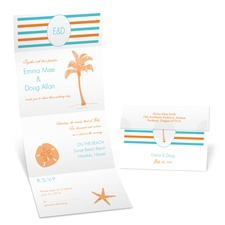 Tropical Stripes Seal and Send Wedding Invitation