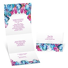 Blossoming Watercolors Seal and Send Wedding Invitation