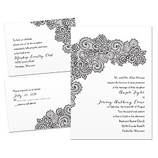 Paisley Lace Wedding Invitation Kit