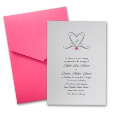 Silver Shimmer Wedding Invitation Card with Pocket