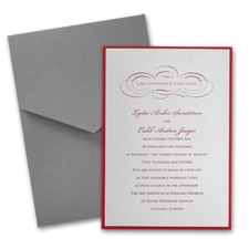 Silver Shimmer Layered Wedding Invitation with Pocket