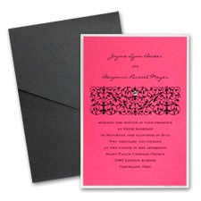 Fuchsia Layered Wedding Invitation with Pocket