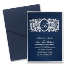 Midnight Layered Wedding Invitation with Pocket