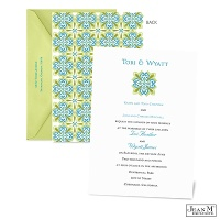 Mosaic Floral Wedding Invitation