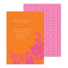 Floral Silhouette Wedding Invitation - Poppy