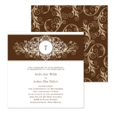 Layered Filigree Monogram Wedding Invitation - Champagne - Square