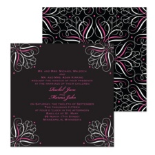 Mod Medallion Wedding Invitation - Fuchsia - Square