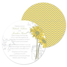 Daisy Daisy Wedding Invitation - Round