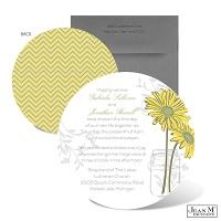 Daisy Daisy Wedding Invitation - Round