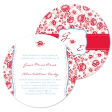 Vintage Flowers Wedding Invitation - Round
