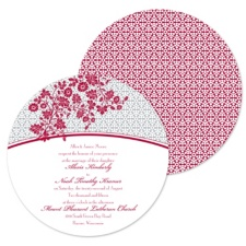 Garden Trellis Wedding Invitation - Merlot - Round
