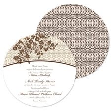 Garden Trellis Wedding Invitation - Espresso - Round