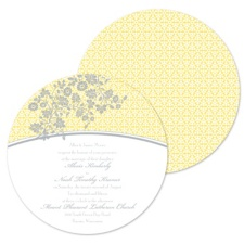 Garden Trellis Wedding Invitation - Canary - Round
