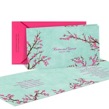 Cherry Blossoms Wedding Invitation - Folded