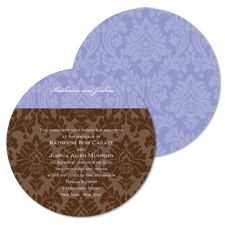 Shades of Damask Wedding Invitation - Orchid - Round