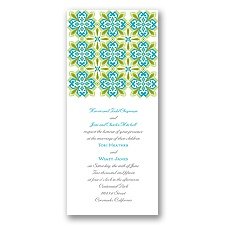 Mosaic Floral Wedding Invitation - Tea Length