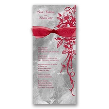 Beautiful Bouquet Wedding Invitation - Merlot/Pewter
