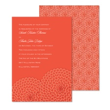 Ruffled Flowers Wedding Invitation - Tango