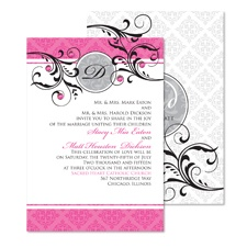 Fine Flourishes Wedding Invitation - Fuchsia