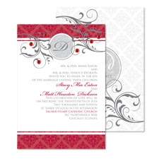 Fine Flourishes Wedding Invitation - Merlot