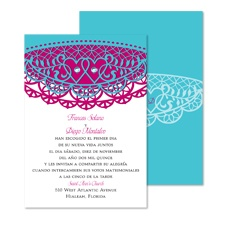 Lacy Hearts Wedding Invitation