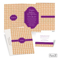 Mosaic Crest Wedding Invitation - Grapevine
