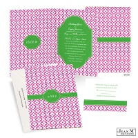 Mosaic Crest Wedding Invitation - Grass
