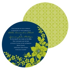 Floral Silhouette Wedding Invitation - Midnight - Round