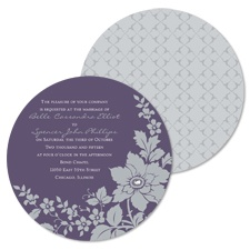 Floral Silhouette Wedding Invitation - Raisin - Round