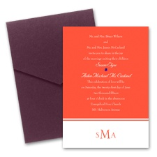 Colorful Monogram Wedding Invitation with Pocket