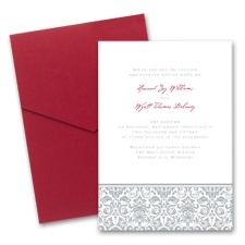 Band of Damask Wedding Invitation with Pocket