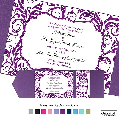 Wedding Invitations  Pockets on Wedding Invitations    Pockets    Damask Crest Pocket Invitation