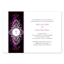 Layered Filigree Monogram Wedding Invitation - Amethyst