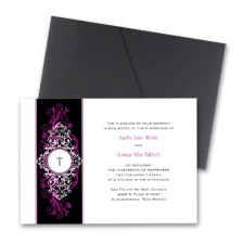Layered Filigree Monogram Wedding Invitation with Pocket- Amethyst