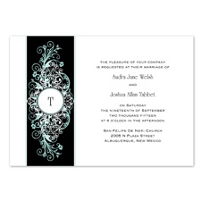 Layered Filigree Monogram Wedding Invitation - Aqua