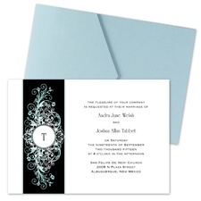 Layered Filigree Monogram Wedding Invitation with Pocket - Aqua