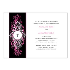 Layered Filigree Monogram Wedding Invitation - Fuchsia