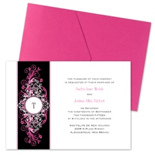 Layered Filigree Monogram Wedding Invitation with Pocket - Fuchsia