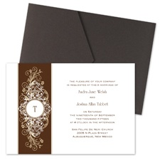 Layered Filigree Monogram Wedding Invitation with Pocket - Champagne